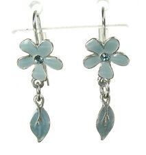 PILGRIM Earrings Duck-egg Blue Grey Silver BLOSSOM Flower Leaf Drop BNWT
