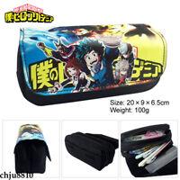 Anime My Boku No Hero Academia Canvas Student Pencil Case Pen Bag Black Zip Bag