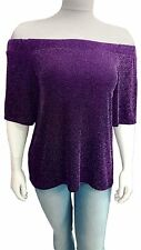 New Womens off Shoulder Lurex 3/4 Sleeve PLUS SIZE Ladies Top 14-28