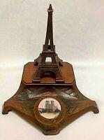VTG DEPOSE INKWELL PARIS FRANCE EIFFEL TOWER NOTRE DAME METAL ART NOUVEAU REST