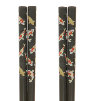 SET of 2 Pairs Japanese Lacquer Chopsticks Black Gold Lucky Koi Pond JAPAN MADE