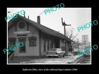 OLD LARGE HISTORIC PHOTO OF JEFFERSON OHIO, THE RAILROAD DEPOT STATION c1960