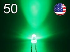 50pcs 3mm Green Superbright LED - Water Clear Round Light Emitting Diode - DIY