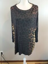 Orange Women's Animal Print Cheetah Tunic Top Sweater Black Brown One Size $78