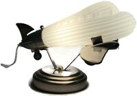 Airplane Table Lamp Glass Chrome Art Deco Electric Plane Luminaire Light Pilot