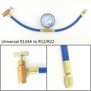 R134A to R12/R22 Car Air Conditioning Refrigerant Recharge Hose + Pressure Gauge
