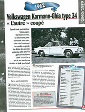 Volkswagen Karmann-Ghia type 34 1962 GERMANY ALLEMAGNE  Car Auto FICHE FRANCE