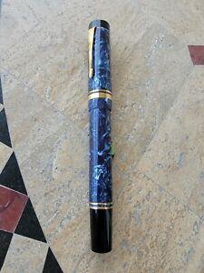 Parker Centennial Duofold Fountain Pen Blue Marble with  Oblique 18K Nib/ 1987