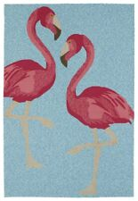 Area Rug Floor Carpet Sea Isle 7.5 ft x 5 ft Indoor Outdoor Blue Pink Flamingos