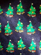 MERRY CHRISTMAS XMAS ~ MENS SILK TIE NECKTIE ~ BLUE & GREEN CHRISTMAS TREES