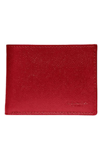 Coach Men's Crossgrain Scratch Resistant Leather Slim Red Billfold Wallet, #2560