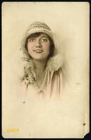 pretty girl in white hat, Vintage hand colored Photograph by 'FAMOS' 1920' Budap