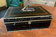 Antique Tole Tin Money Box w/ Key