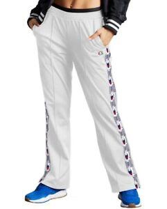 Champion Women's Tricot Logo Stripe Track Pants White Size L