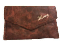 Vintage Hosiery Bag 1950s Pouch Clutch Brown Patterned PU Gold Lining Lettering