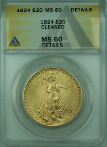 1924 St. Gaudens $20 Double Eagle Gold Coin ANACS MS-60 Details
