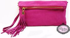 ladies pink suede tassel clutch bag with shoulder strap