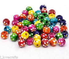 300 Misto Distanziatori Perle Perline a Pois in Legno 10x9mm