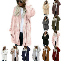 Women Teddy Bear Coat Jacket Winter Fluffy Loose Cardigan Outwear Plus Size 8-26
