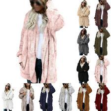 Women Teddy Bear Coat Jacket Winter Fluffy Loose Cardigan Outwear Plus Size 8-26