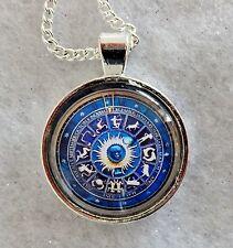 "BLUE ZODIAC   1""glass pendant necklace handmade silver plated 20""chain reiki"