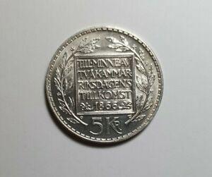 Sweden 1966 5 Kroner Silver Coin in coin pouch - Anniversary Constitution Reform