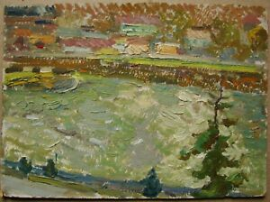 Russian Ukrainian Soviet Oil Painting impressionism landscape river village
