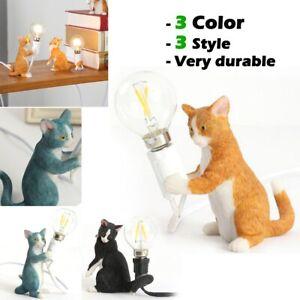 Mini Modern Cute Resin Cat Table Lamp E12 LED Bedside Bedroom Decor Night Light