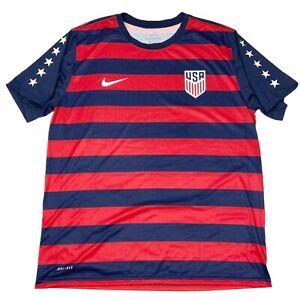 Nike Mens Dri-Fit Tee Team USA Soccer Jersey T-Shirt Red White Blue Striped XL