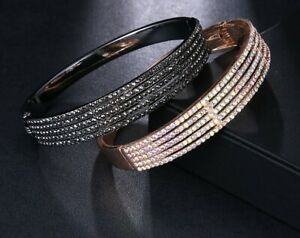 Elegant Crystal Pave Bangle - New in Gift Box - Two Colourways