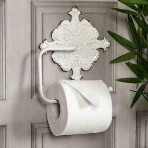 Antique White Toilet Roll Holder Ornate Wall Shabby Vintage Chic Bathroom W/C