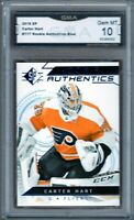 GMA 10 Gem Mint CARTER HART 2018/19 SP Authentic Rookie Card *BLUE* FLYERS!
