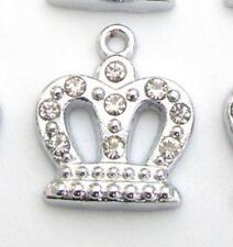 10 Crown Crystal Rhinestone Silver Plated Charm/Bracelet/Princess/King/Bead K87