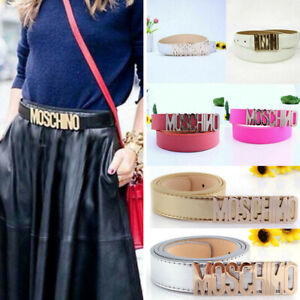 Ladies MOSCHINO Buckle Belt Clothing Accessories Golden Letters Womens Waistband