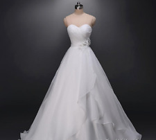 New White/Ivory A Line Wedding Dress Sweetheart Strapless with Flowers