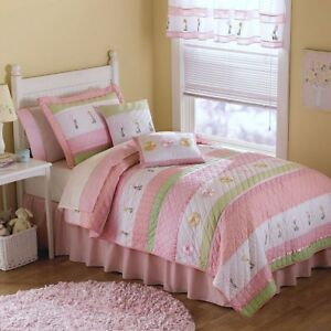 Pastel Pink Green Kids Girl Twin Quilt Bedding Set Cotton Striped Embroidered