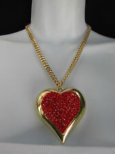 "New Women Gold Short Fashion Necklace Big Heart Pendant Red Rhinestones 9"" Drop"