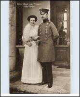 Adel & Monarchie Echtfoto-AK Royals Real-Photo Prinz Oscar v. Preussen mit Braut
