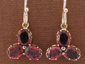 E091- Genuine 9ct Rose Gold Natural Rhodolite Garnet Clover Drop Earrings