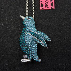 Women's Blue Enamel Crystal Penguin Pendant Betsey Johnson Long Necklace