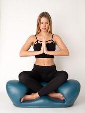"Medium Blue Vegan Leather ""Meditation Chair"" Zen Yoga Ergonomic Foam Cushion"