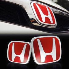 1pairs For HONDA CIVIC 06-15 SEDAN Red H Front and Rear Emblem Badge Logo