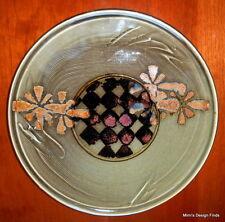 TIM MATHER Ceramic Tray Platter Studio Art Pottery Olive Green, Brown Signed EUC
