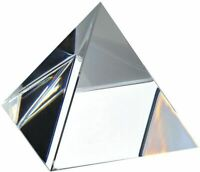 Clear Optical Glass Pyramid Crystal Healing Prism Science Optics Ornament 60mm