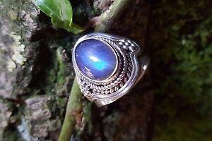 Labradorite Ring SterlingSilver 925 Transparent Gemstone Oval Cabochon Size T