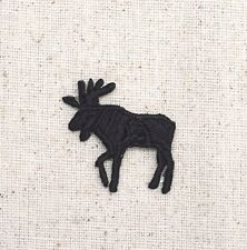 Iron On Embroidered Applique Patch Moose Black Silhouette Facing LEFT SMALL