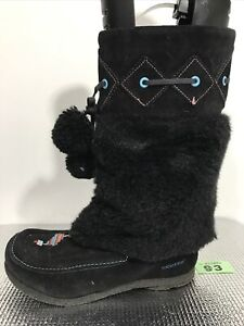 LADIES KICKERS BLACK FAUX SUEDE FLAT PUL UP FAUX FUR MID CALF BOOTS SIZE 38 Uk 5
