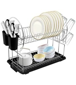 2 Tier Dish Drying Rack Tray with Removeable Cutlery Drainer & Cup Holder