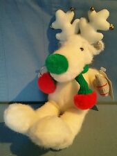 """Vintage Applause """"Snobell"""" Plush White Christmas Reindeer w/ Tags Scarf & Bells"""