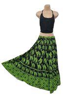 Cotton Maxi Skirt Hippie Bohemian Block Camel Print Boho Green Size 8 10 12 14